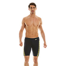 Buy Speedo Endurance+ Monogram Jammer Swim Shorts, Navy/Yellow Online at johnlewis.com