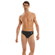 Buy Speedo Endurance+ Monogram 7cm Swim Briefs, Navy/Yellow Online at johnlewis.com