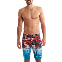 "Buy Speedo Fastskin Racer 20"" Leisure Swimshorts, Red/Blue Online at johnlewis.com"