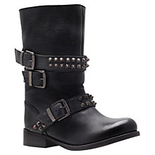 Buy Carvela Tasha Leather Studded Biker Boots, Black Online at johnlewis.com