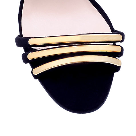 Buy Carvela Cara Suedette Metallic Trim Occasion Sandals, Black / Gold Online at johnlewis.com