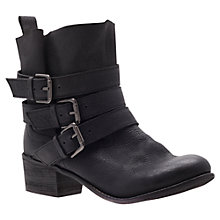 Buy Carvela Terri Leather Triple Buckle Biker Boots, Black Online at johnlewis.com