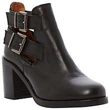 Buy Bertie Platta Leather Block Heel Cut-Out Ankle Boots, Black Online at johnlewis.com