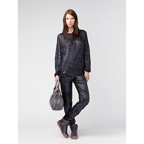 Buy Gérard Darel Sequinned Blouse, Blue Online at johnlewis.com