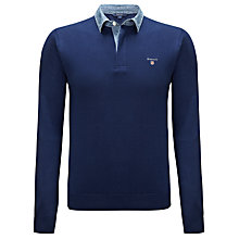 Buy Gant Denim Collar Rugby Shirt, Blue Online at johnlewis.com