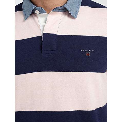 Buy Gant Denim Collar Barstripe Rugby Shirt, Pink/Navy Online at johnlewis.com