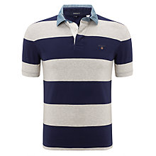 Buy Gant Barstripe Denim Collar Rugby Top, Navy/Grey Online at johnlewis.com