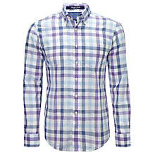 Buy Gant Poplin Large Check Shirt, Blue/White Online at johnlewis.com