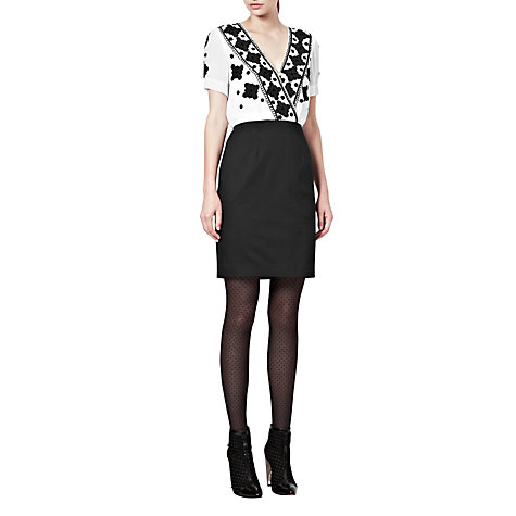 Buy French Connection Embroidery Dress, Black Online at johnlewis.com