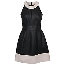 Buy French Connection Leather Halterneck Dress, Black/Snowball Online at johnlewis.com