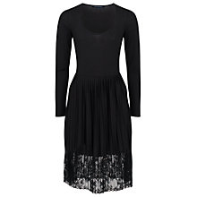 Buy French Connection Pleated Lace Jersey Dress, Black Online at johnlewis.com