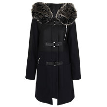 Buy French Connection Battersea Duffle Coat, Black Online at johnlewis.com