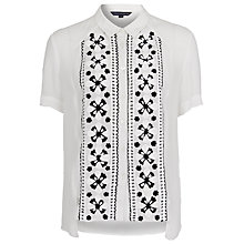 Buy French Connection Anika Embroidered Shirt, Winter White Online at johnlewis.com