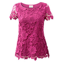 Buy East Cap Sleeve Lace Top, Orchid Online at johnlewis.com