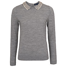 Buy French Connection Collar Jumper, Medium Grey Melange Online at johnlewis.com