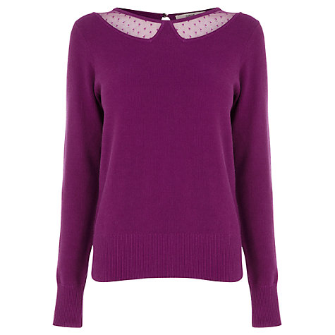 Buy Oasis Mesh Insert Collar Top Online at johnlewis.com