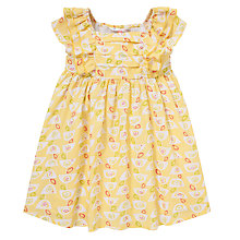 Buy John Lewis Patterned Frill Sleeve Dress, Yellow Online at johnlewis.com