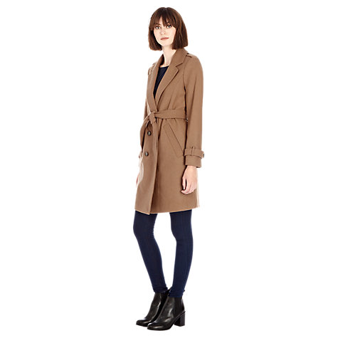 Buy Warehouse Longline Melton Coat, Camel Online at johnlewis.com