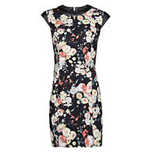 Buy Mango Contrast Appliqué Floral Dress, Black Online at johnlewis.com