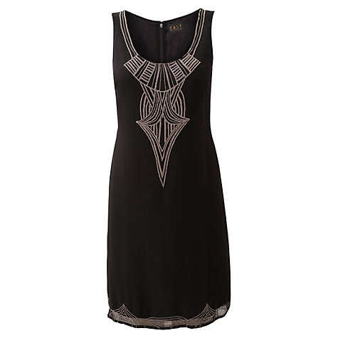 Buy East Deco Beaded Dress, Black Online at johnlewis.com