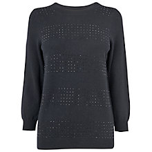 Buy Jaeger Crystal Stripe Sweater, Black Online at johnlewis.com