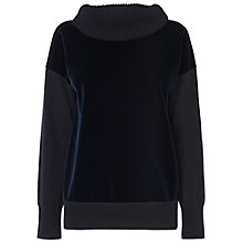 Buy Jaeger Velvet Cowl Jumper, Navy Online at johnlewis.com