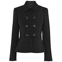 Buy Jaeger Double Breasted Peplum Jacket, Black Online at johnlewis.com