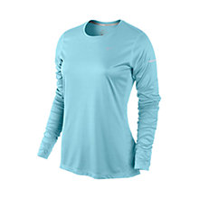 Buy Nike Miler Crew Neck Long Sleeve Top, Light Blue Online at johnlewis.com