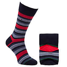 Buy Tommy Hilfiger Variation Stripe Pattern Socks, Pack of 2, Red/Blue Online at johnlewis.com