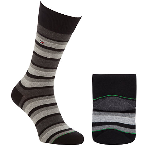 Buy Tommy Hilfiger Variation Striped Socks, 2 Pack, Grey Online at johnlewis.com