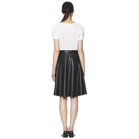 Buy Whistles Katia Circle Longer Faux Leather Skater Skirt, Black Online at johnlewis.com