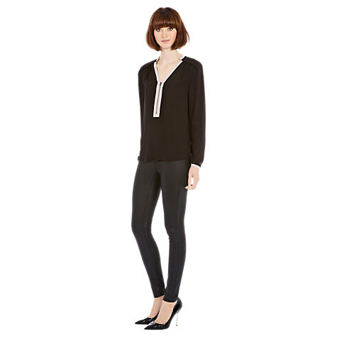 Buy Warehouse Zip Front Long Sleeve Blouse, Black Online at johnlewis.com