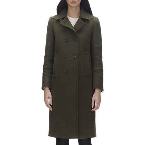 Buy Whistles Elin Double Breasted Military Coat, Khaki Online at johnlewis.com