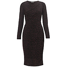 Buy Whistles Leopard Print Bodycon Dress, Burgundy Online at johnlewis.com
