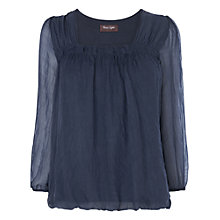 Buy Phase Eight Saskia Square Neck Blouse, Blue Online at johnlewis.com