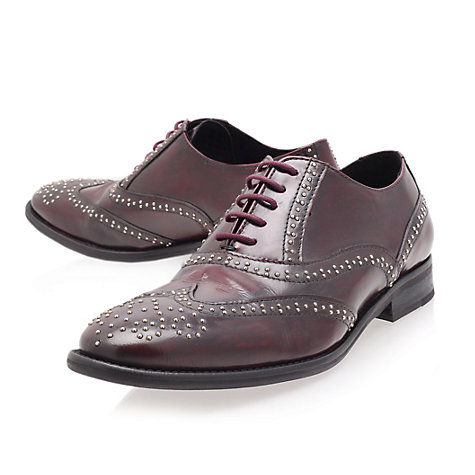 Buy KG by Kurt Geiger Portland Stud Embellished Leather Brogues, Red Online at johnlewis.com