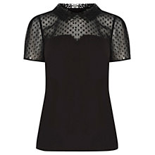 Buy Oasis Lace Devore Top, Black Online at johnlewis.com