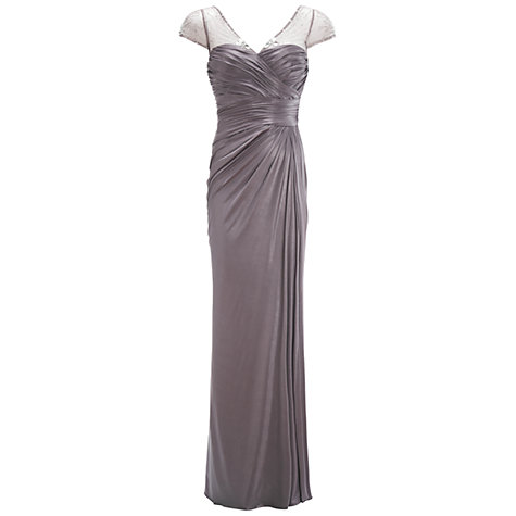 Buy Adrianna Papell Draped Jersey Dress, Silver Online at johnlewis.com