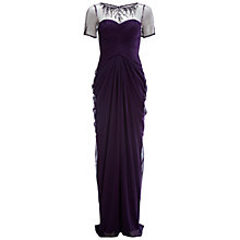 Buy Adrianna Papell Necklace Drape Gown, Aubergine Online at johnlewis.com