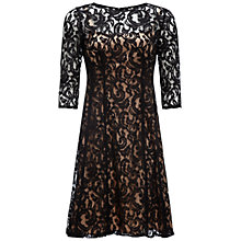 Buy Adrianna Papell Fit and Flare Dress, Black/Nude Online at johnlewis.com