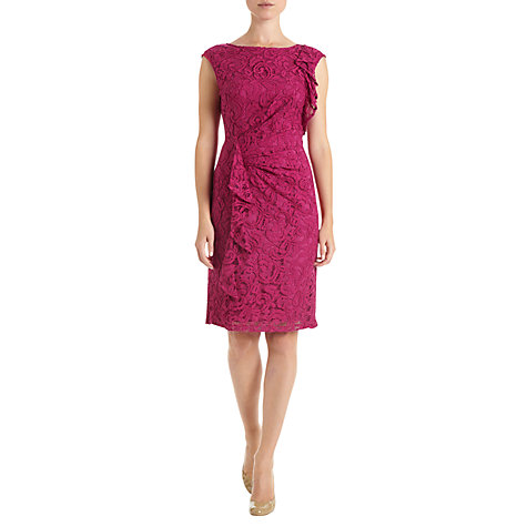 Buy Adrianna Papell Lace Ruffle Dress, Crushed Berry Online at johnlewis.com