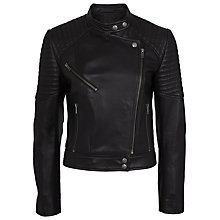 Buy French Connection Jet Leather Jacket, Black Online at johnlewis.com