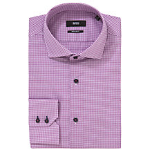Buy Boss Black Gorman Vichy Check Long Sleeve Shirt, Pink Online at johnlewis.com
