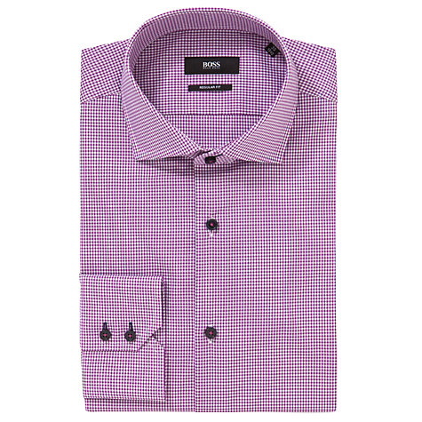 Buy BOSS Gorman Vichy Check Long Sleeve Shirt, Pink Online at johnlewis.com