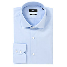 Buy BOSS Gordon Plain Long Sleeve Shirt, Blue Online at johnlewis.com