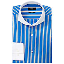 Buy BOSS Johan Stripe Easy-Iron Long Sleeve Shirt, Blue/White Online at johnlewis.com