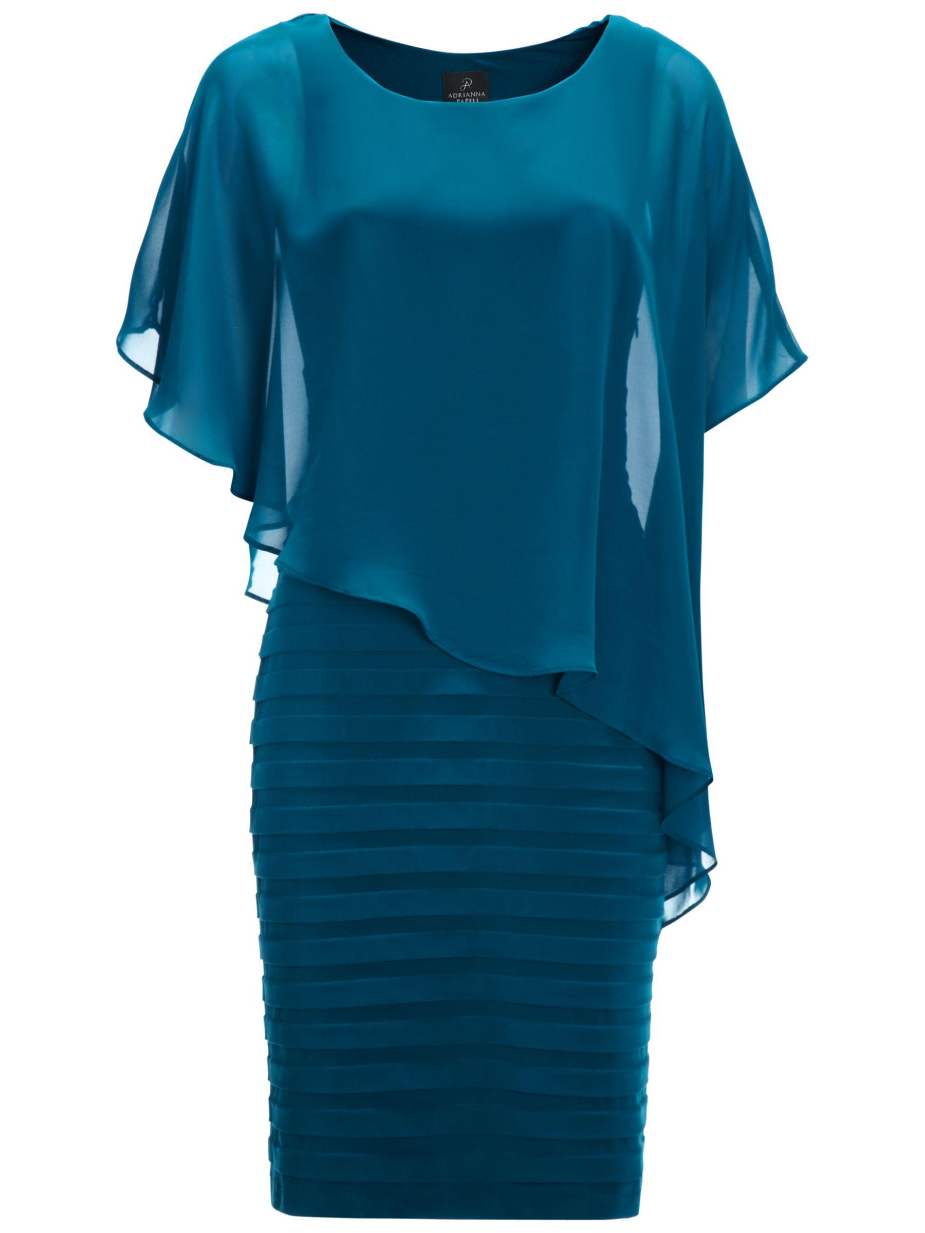 Adrianna Papell Chiffon Drape Dress, Deep Turquoise