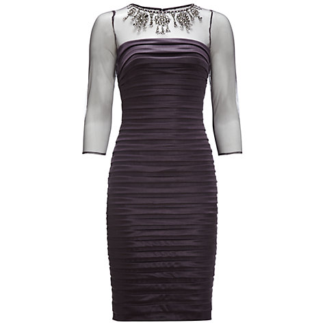 Buy Adrianna Papell Tucked Necklace Dress, Charcoal Online at johnlewis.com