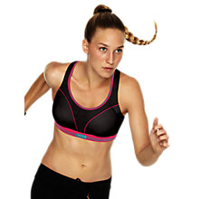 Buy Shock Absorber Run Sports Bra, Black / Pink Online at johnlewis.com
