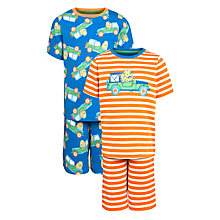 Buy John Lewis Boy Lion Stripe Short Pyjamas, Pack of 2, Orange/Navy Online at johnlewis.com